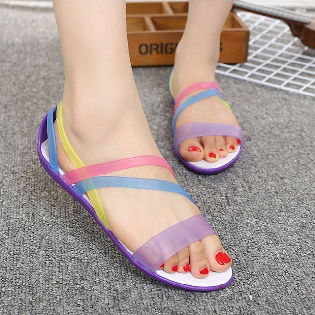 habazoo - Women  Summer New EVA Casual Mixed Candy Colors Soft Slip On Beach Jelly Shoes Woman Flat Sandals - Habazoo -