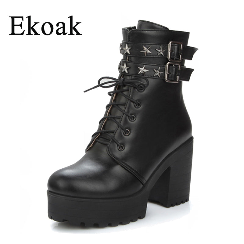 Ekoak Fashion Sexy High Heels Motorcycle Boots Lace-Up Autumn Leather Metal Stars Platform Ankle Boots for Women Shoes Woman - Habazoo