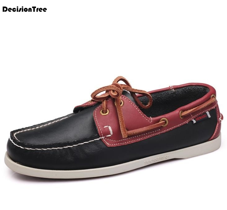 habazoo - Leather Boat  Fashion Design Mixed Color Male Driving Shoes Breathable Soft Flats - Habazoo -