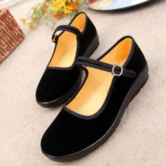 habazoo - Ladies Flats Buckle Strap Comfortable Women Shoes Round Toe Solid Casual Shoes Plus Size 34~41 - Habazoo -