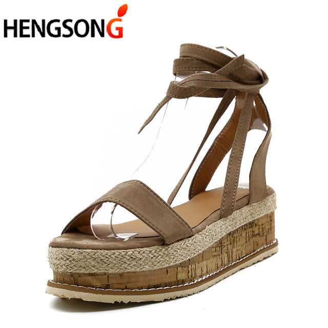 habazoo - Summer White Wedge Women Sandals Open Toe Gladiator Sandals Women Casual Lace Up Women Platform Sandals - Habazoo -