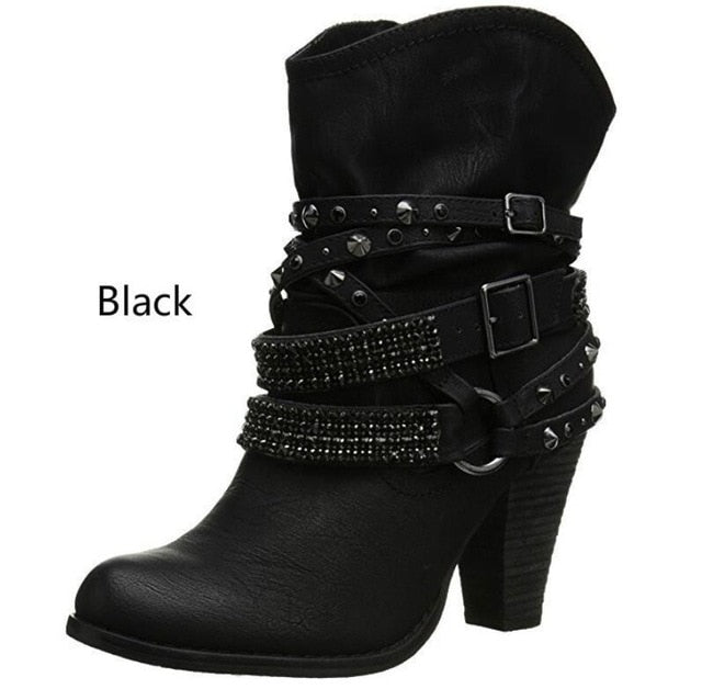 habazoo - New Short Boots Women Western Goth Diamonds Studs Boots Ankle Boots Women High Heel Booties Spiked Shoes Plus size 35-44 - Habazoo -