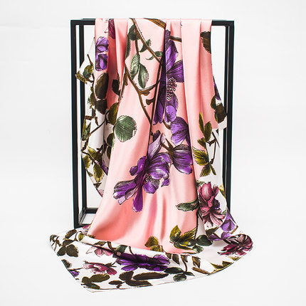 habazoo - Female Satin Scarf Big Square Scarves Gradient Butterfly Printed Women Scarf Light Silk Scarf Shawl - Habazoo -