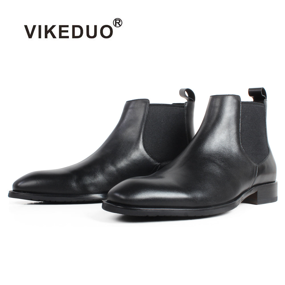 habazoo - Black Genuine Calf Skin Handmade Bespoke Men's Leather Boots Flat Autumn Driving Office Ankle Chelsea Boots MEN - Habazoo -