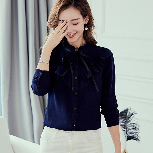 habazoo - Long Sleeve Shirts Korean Ruffles Women Street wear Slim Chiffon Blouse Elegant Ladies Tops - Habazoo -