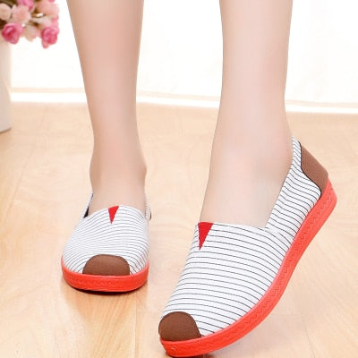 habazoo - Casual Shoes stripe Woman Loafers Flat Shoes - Habazoo -