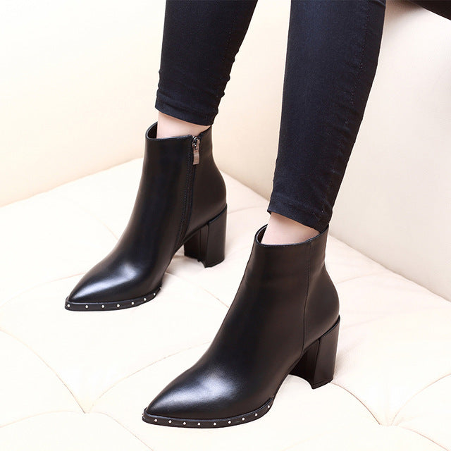 habazoo - New Genuine Leather Party Sexy Woman Shoes Large Size Ankle Boots Heel 6cm Pointed Toe High Heel Riding Boots CH-B0104 - Habazoo -