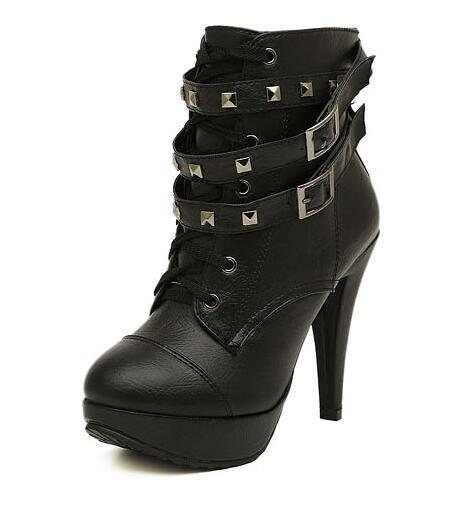 habazoo - Plus Size 35-43 Rome Rivets Party Fashion Working Women Boots PU Black Platform Sexy Wedding Shoes High Heel Ladies Ankle Boots - Habazoo -