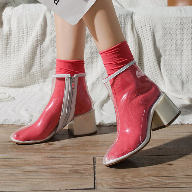 habazoo - transparent ankle boots for women with heel shoes woman square heel boots women high heels shoes for women waterproof boots 2019 - Habazoo -