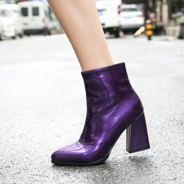 habazoo - patent PU leather silver purple gold woman shoes booties fashion block high heels women ankle boots - Habazoo -