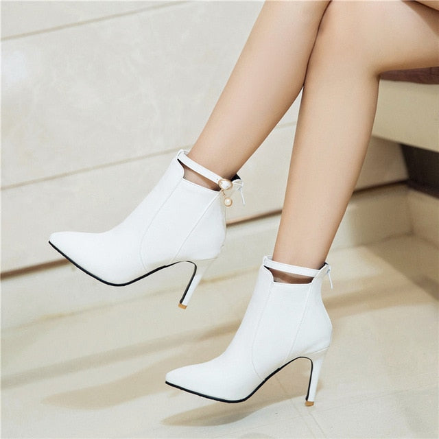 habazoo - Sexy Thin High Heels Party Wedding Shoes Woman White Black Ankle Boot Big Size Buckle Strap Pointed Toe Pumps Stiletto - Habazoo -