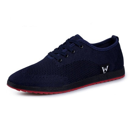 habazoo - Men Shoes Breathable Mesh Casual Shoes Men Canvas Shoes Fashion Low Lace-Up Flat Shoes - Habazoo -