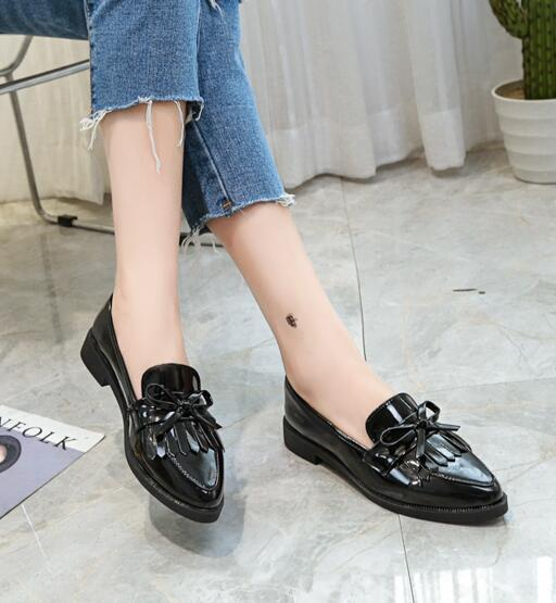 habazoo - Woman Casual Tassel Bow Pointed Toe Black Oxford  Flats Comfortable Slip on Women Shoes - Habazoo -