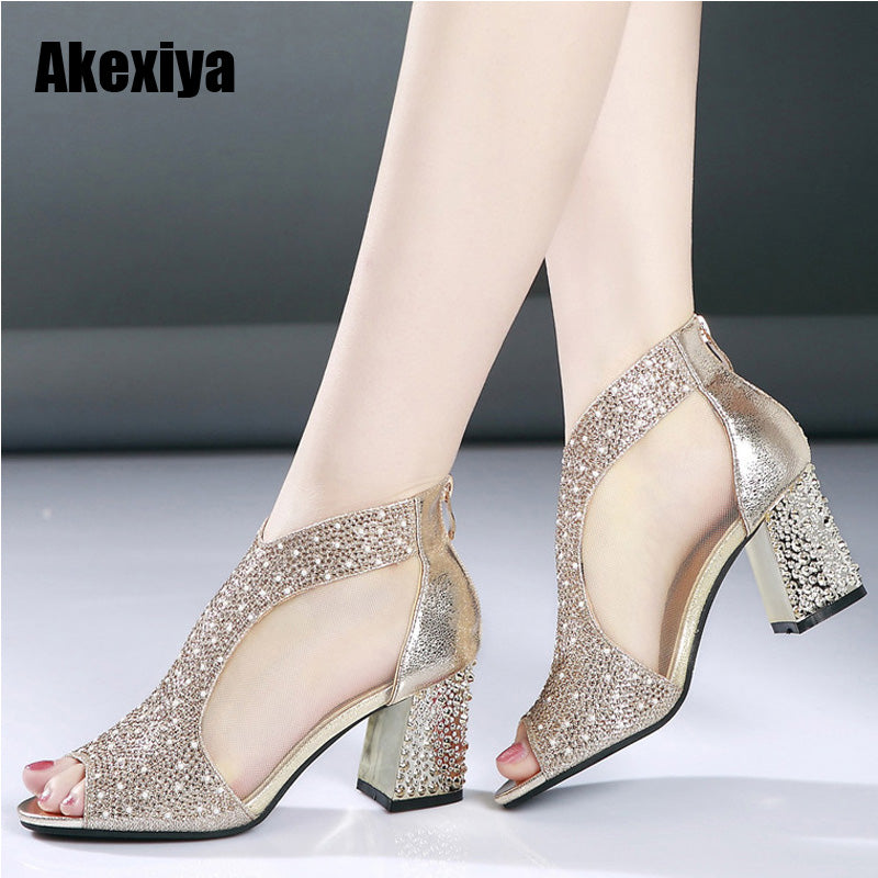 Sandals Bling 7cm High Heels Diamond Summer Square Heel Wedding Shoes Leather - Habazoo