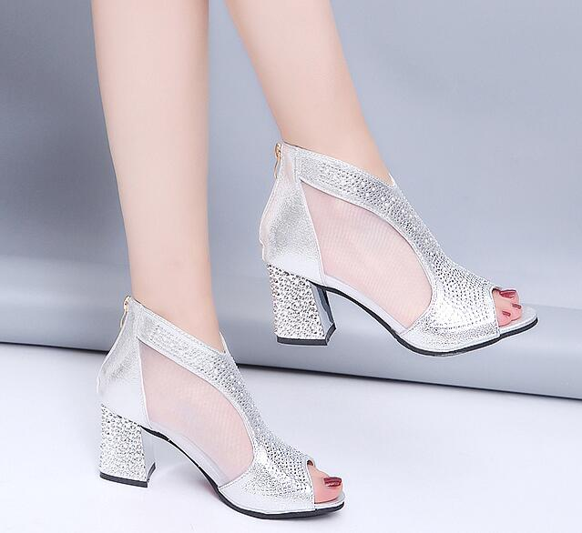 habazoo - Sandals Bling 7cm High Heels Diamond Summer Square Heel Wedding Shoes Leather - Habazoo -