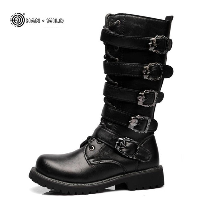habazoo - Winter Men Motorcycle Boots 2018 Fashion Mid-Calf Punk Rock Punk Shoes Mens PU Leather Black High top Casual Boot Man - Habazoo -