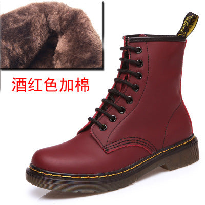 habazoo - Top quality Leather Women  High Top Motorcycle Autumn Winter Shoes woman snow Boots - Habazoo -