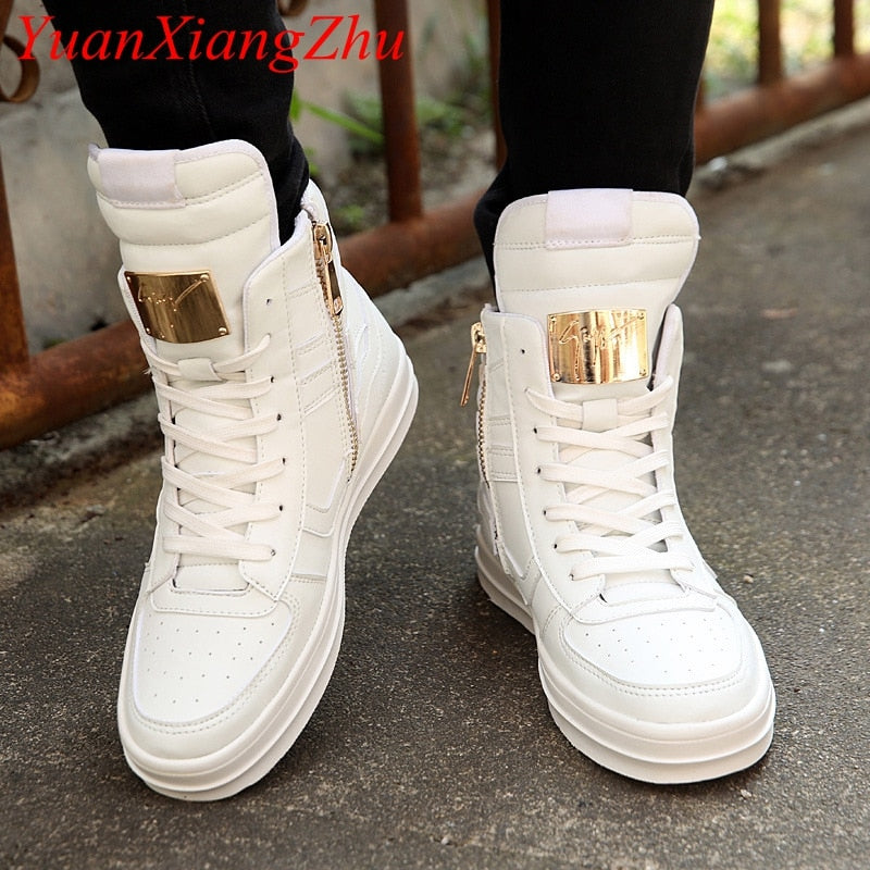 Winter Boots Men Waterproof Leather Boots Men High Top Shoes 2018 White Winter Footwear Lace-Up Casual Shoes Man Plus Size 45 - Habazoo