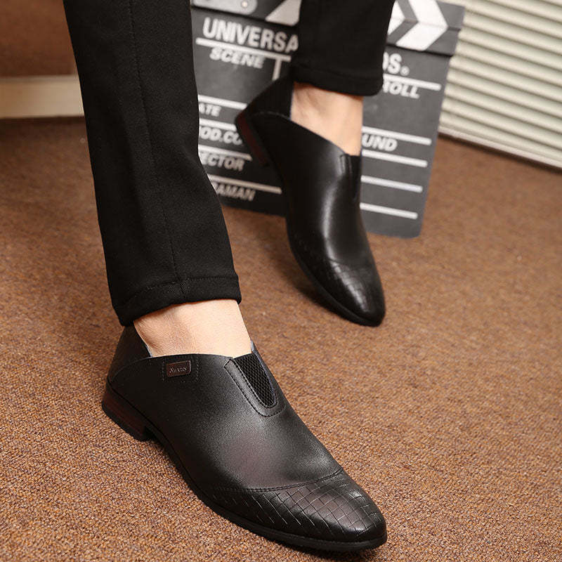 habazoo - Leather Shoes Fashion Korea Men Loafers Comfortable Pointed Toe Business Shoes - Habazoo -