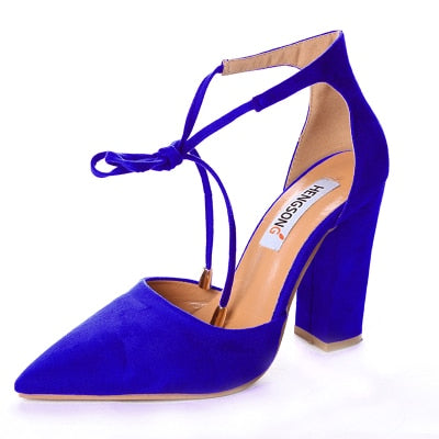 habazoo - Women Pumps Sexy High Heels Shoes ladies Lace Up Point Toe Party Wedding Pump Black Woman shoes - Habazoo -