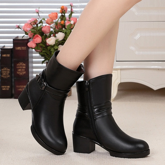habazoo - Leather Ankle Boots Women Elegant Metal High Heels Shoes Woman Platform Winter Boots Size 33-43 - Habazoo -