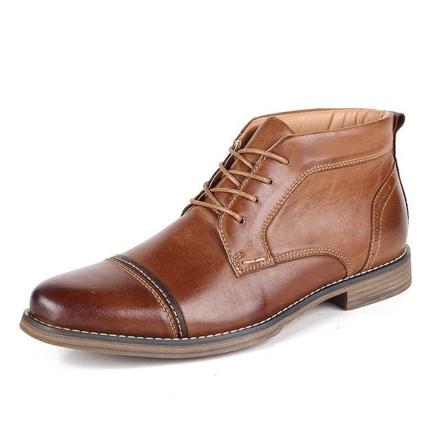 Leather High Boots Men's High Shoes Business Casual Lace-up - Habazoo