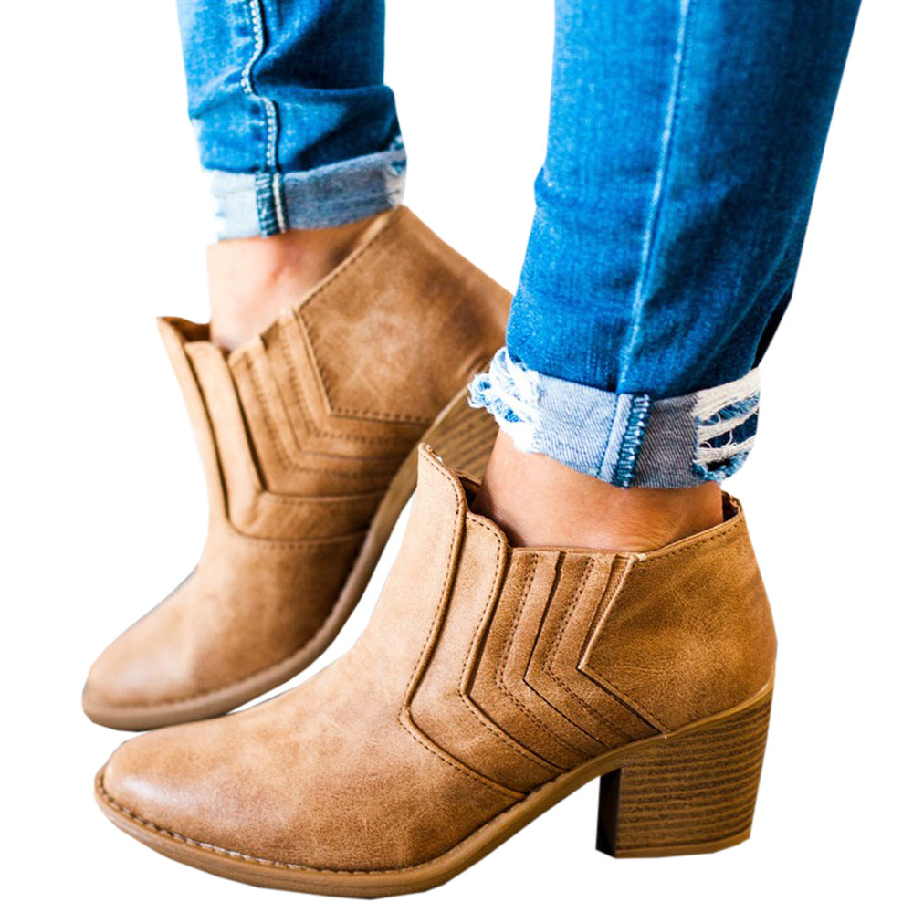 habazoo - Women Ankle Boots Block High Heels Leather Winter Shoes Woman Plus Size Booties Cowboy Boots - Habazoo -
