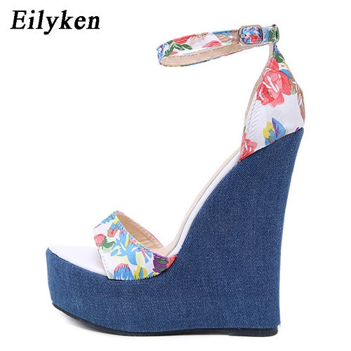 habazoo - New Designer Print Denim Sandals Roman Sandals High Quality Wedges High Heels Peep-Toe Platform Shoes Woman - Habazoo -