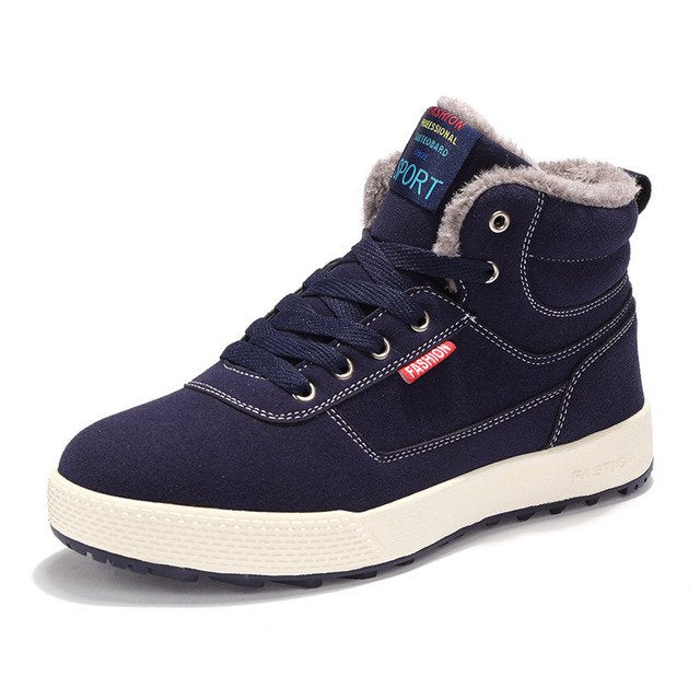 Winter men Plus Size 39-49 High - top cotton and velvet padded warm casual snow boots - Habazoo