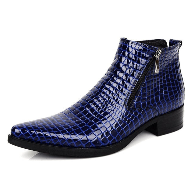 Plus Size 45 Dark Blue/Black Mens Ankle Boots - Habazoo