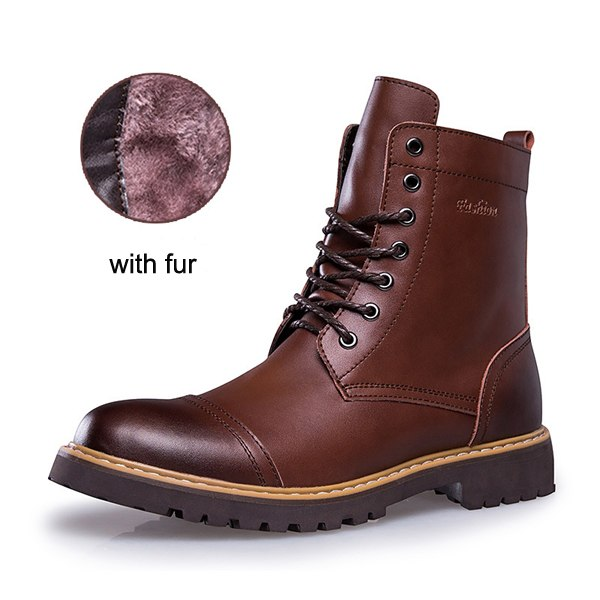 Genuine Leather Fashion Lace Up Waterproof  ankle boots