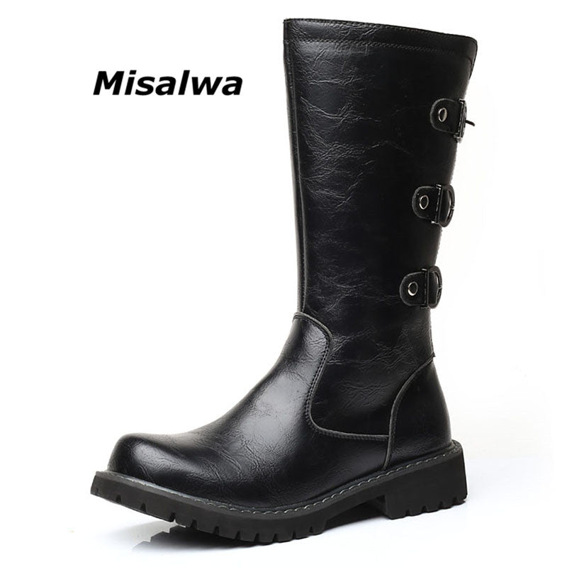 Mid-Calf Motorcycle Boots Zipper for Horse Riding Cowboy Leather Buckle - Habazoo