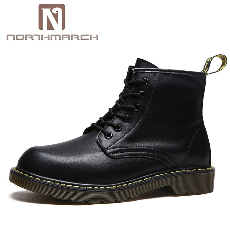 habazoo - New Arrival PU Leather Men Boots British Breathable Lace-Up Ankle Boots - Habazoo -