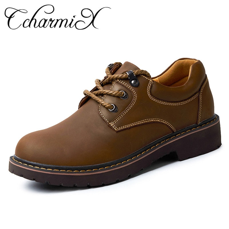 habazoo - Leather Handmade Luxury  Top Quality Casual  Men Work Shoes Large Size Flats - Habazoo -