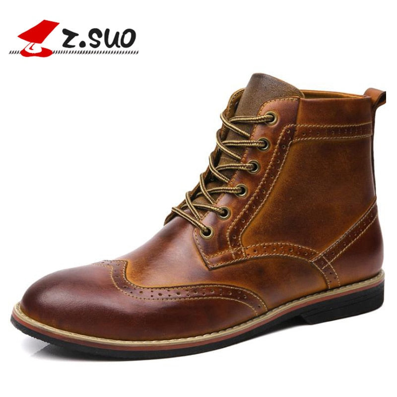 Genuine Leather Men Boots Vintage Brogue College Style Ankle Boots Men Fashion Autumn Winter Shoe - Habazoo
