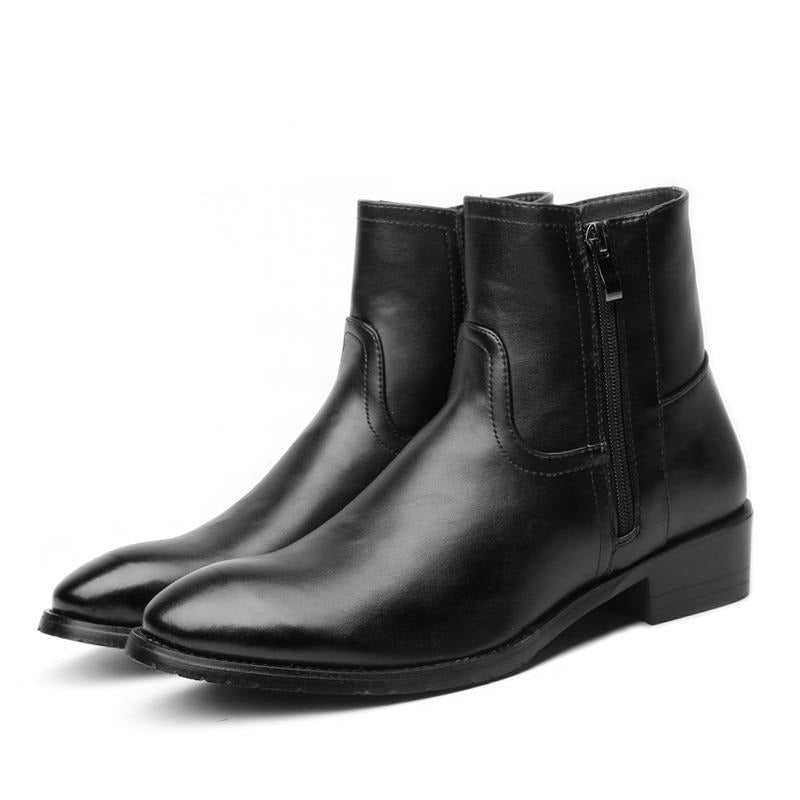 habazoo - Men Chelsea Boots Spring / Winter Leather Boots Men High Double Zip British Men's Fashion Boots Black Big Size 37-46 - Habazoo -