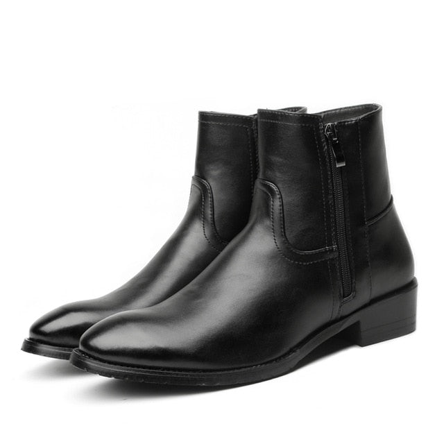 Misalwa Men Chelsea Boots Spring / Winter Leather Boots Men High Double Zip British Men's Fashion Boots Black Big Size 37-46 - Habazoo