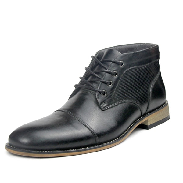 Genuine Leather Winter Ankle male lace-up leisure boots Large size 39-47 - Habazoo