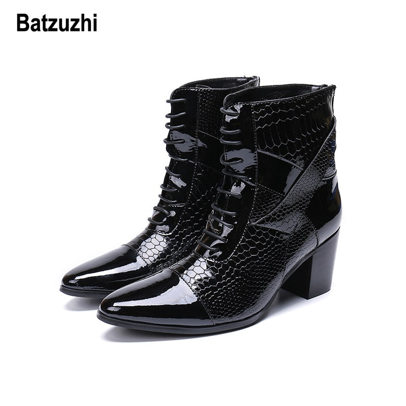 habazoo - High Heel Lace-up Handsome Leather Dress Boots Black Party and Wedding Boots Men Designer - Habazoo -