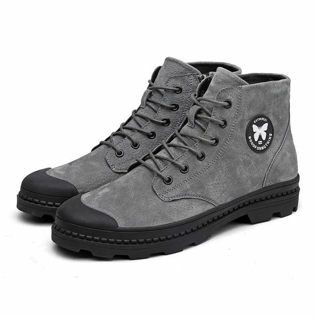 habazoo - ankle boots zipper waterproof round head anti-collision cattle suede men boots - Habazoo -
