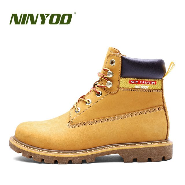 Leather Ankle Waterproof Autumn Working Yellow Boots Plus Size 45 46 - Habazoo