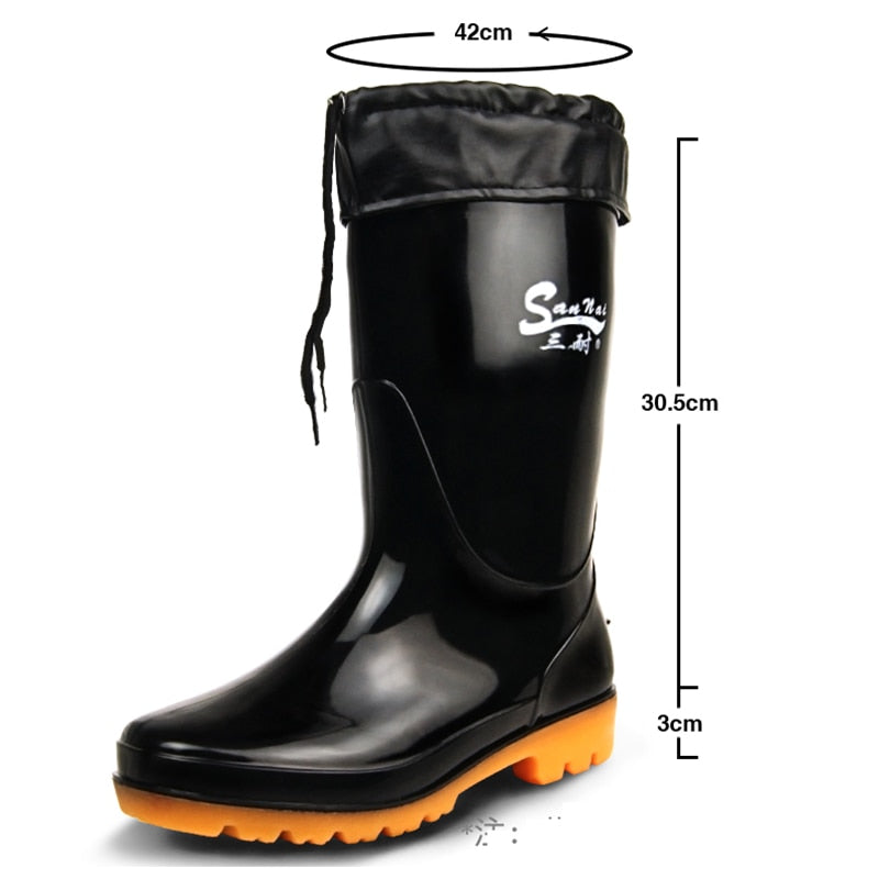 Men's super size rain boots fishing shoes waterproof boots - Habazoo
