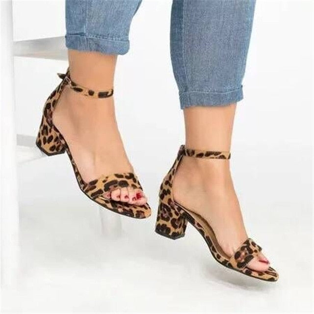 habazoo - Ankle Strap Heels Leopard Print Women Sandals Summer Shoes Women Open Toe Chunky High Heels Party Dress Sandals Women Pumps - Habazoo -
