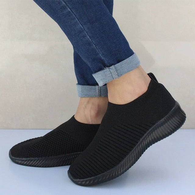habazoo - Plus Size Women Casual Knitting Sock Sneakers Stretch Flat Platform Fashion Ladies Slip On Shoes Female Leisure Footwear - Habazoo -
