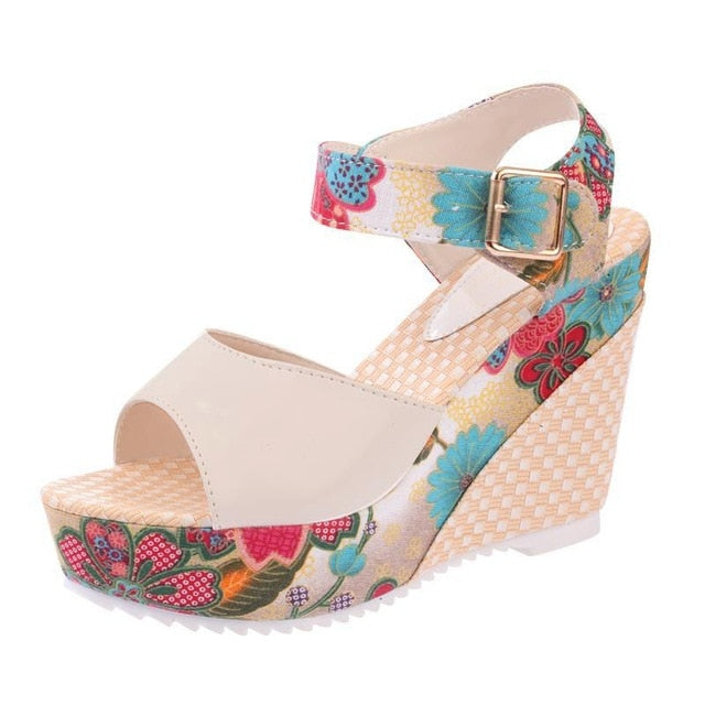 habazoo - Women Sandals Summer Platform Wedges Casual Shoes Woman Floral Super High Heels Open Toe Slides Slippers - Habazoo -