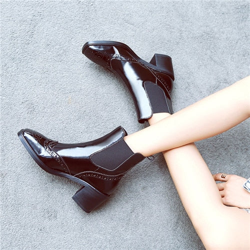 habazoo - New Arrival Women High Heel Ankle Boots patent Leather Women Boots elastic slip-on carving Square Heel Black Winter Boots 34-42 - Habazoo -