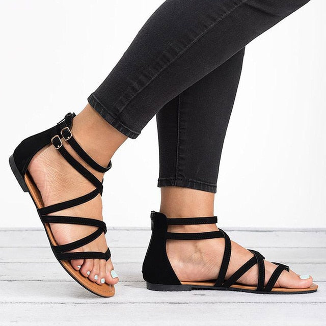 habazoo - Women Sandals Rome Style Summer Shoes Woman Gladiator Sandals With Zip Flip Flop Female Flat Sandals Lady Beach - Habazoo -