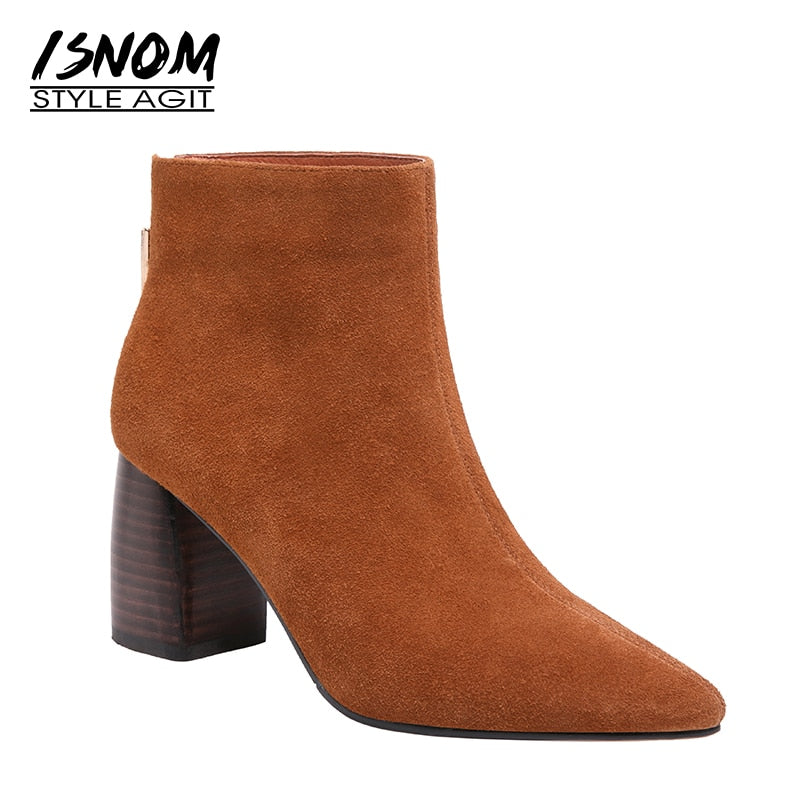habazoo - High Heels Boots Women Pointed Toe Ankle Boots Fashion Office Cow Suede Female Shoes Short Plush Winter Footwear - Habazoo -