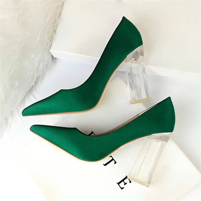habazoo - Plus Size 43 Women Block 10cm High Heels Lady  Green Satin Pumps Female Wedding Yellow Blue Silk Transparent Shoes - Habazoo -