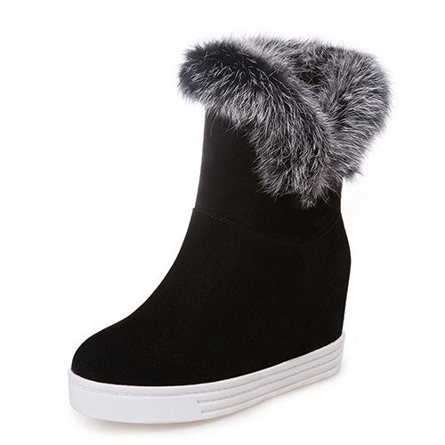 habazoo - Quality  Boots Women Warm Platform High Heels  Black Gray Real Fur Ladies Snow Boots - Habazoo -